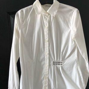 CAbi White Cotton Asymmetrical Hem